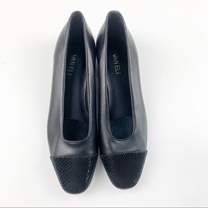 Vaneli Black Leather Cap Toe Scaled Texture Flats
